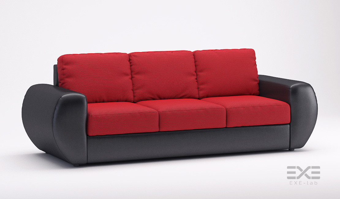 Rendering of the red and black sofa bed