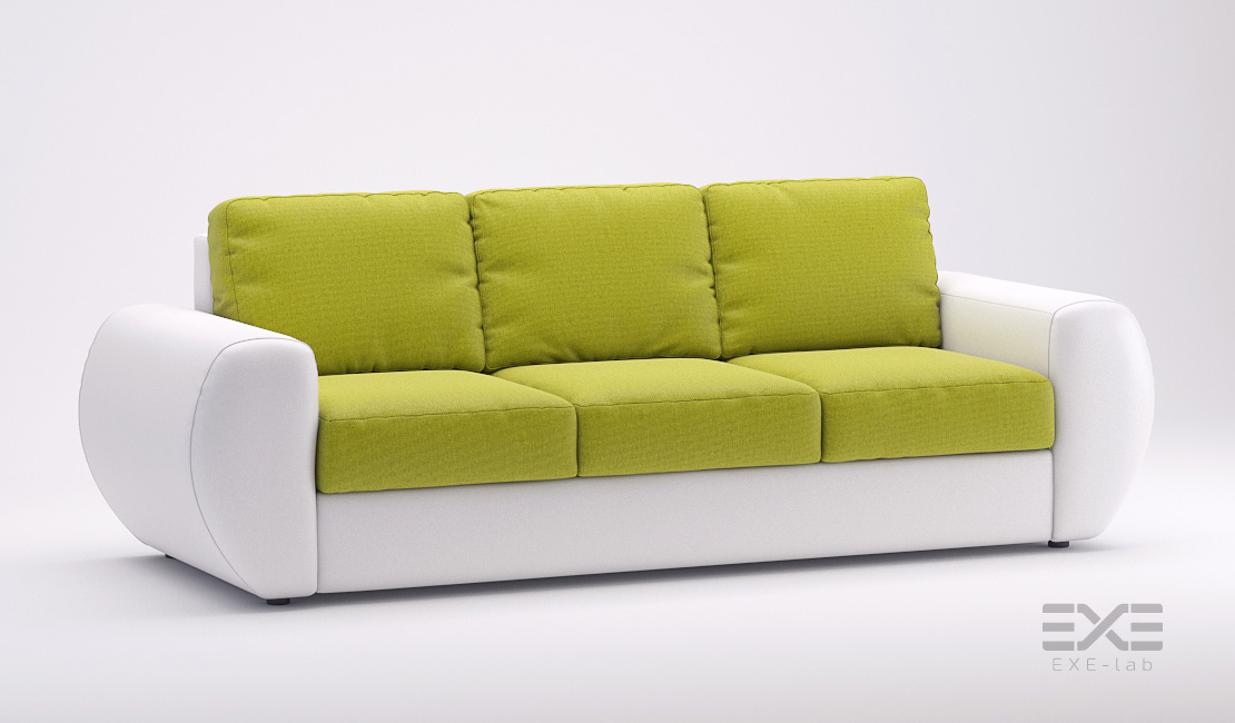Rendering of the green and white sofa bed