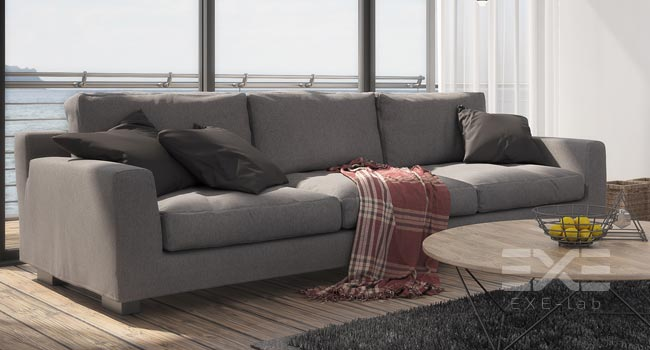 Couch in arranged interior