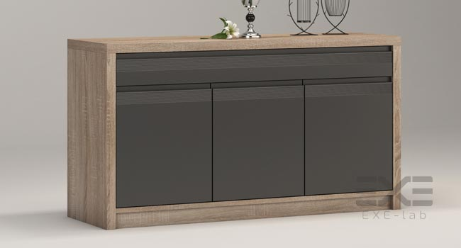 Cabinet with furniture accessories in 3D studio