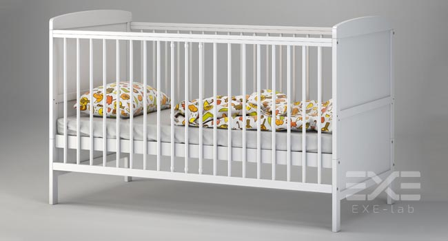 3D model of cot bed in 3D studio