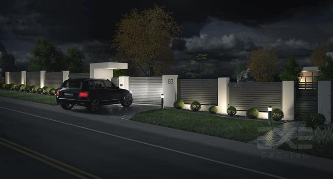 Exterior rendering - gate and fence
