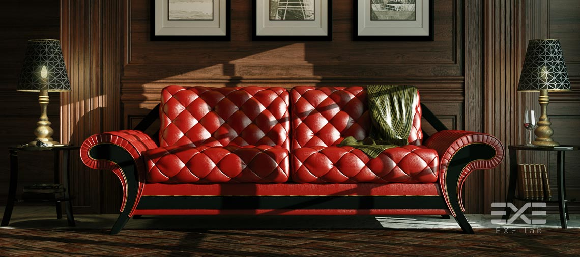 3D model of sofa, upholstered furniture in interior